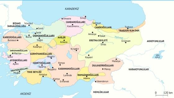İkinci Dönem Türk Beylikleri Haritası